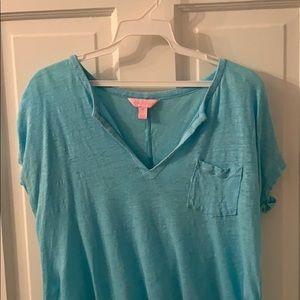 Light blue Lilly Pulitzer V-neck T-shirt